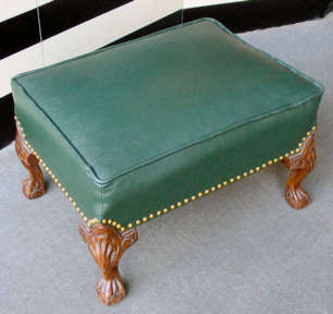 Leather Chippendale Carved Clawfoot Ottoman With Hunter